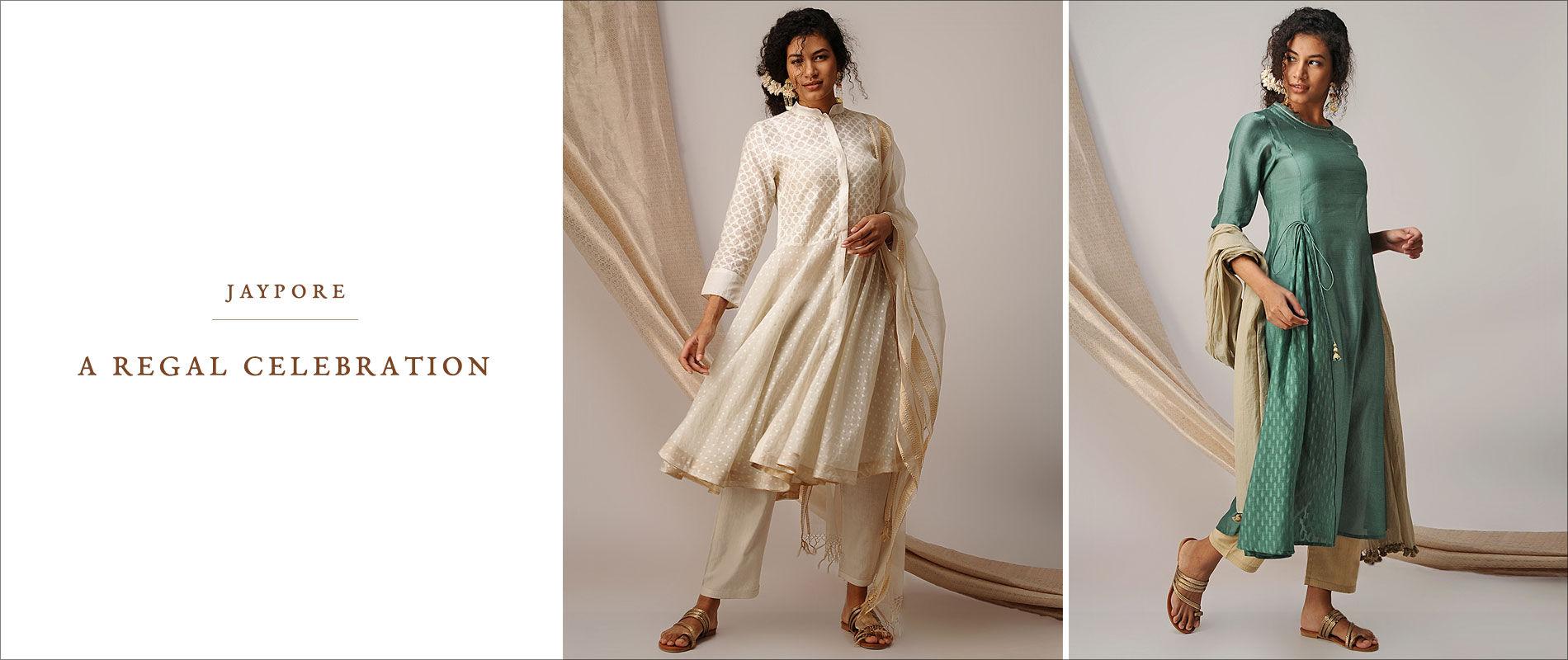 Buy The Silk Route Bandhej Bandhani Cotton Silk Kurtas