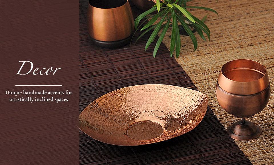 Buy Home Decor Copper Tumbler Platter Katori Online At Jaypore