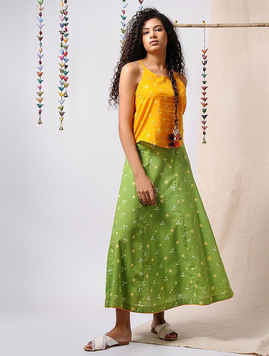 318f901ac Green-Yellow Bandhani Cotton Paneled Skirt Apparel, Jewelry, Accessories,  And More