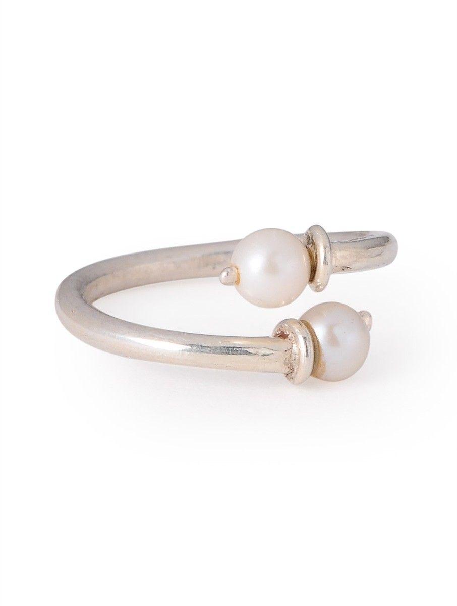 Buy Simple Silver Pearl Adjustable Ring Online At Jaypore Com