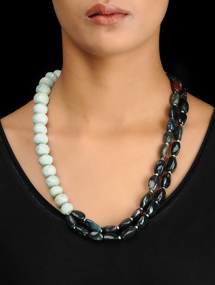 Buy Blood Stone and Amazonite Beaded Silver Necklace Online at Jaypore com