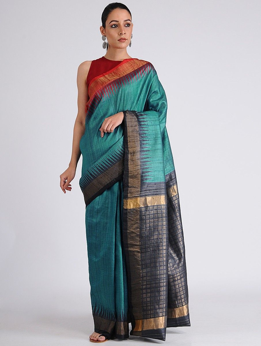 fd71461e36 Buy Blue-Black Sambalpuri Ikat Tussar Ghicha Silk Saree with Zari ...