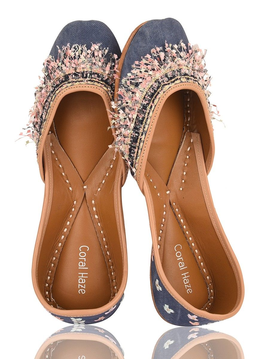 23ef467f227 Blue-Multicolored Handcrafted Leather Juttis with Threadwork and Fringes