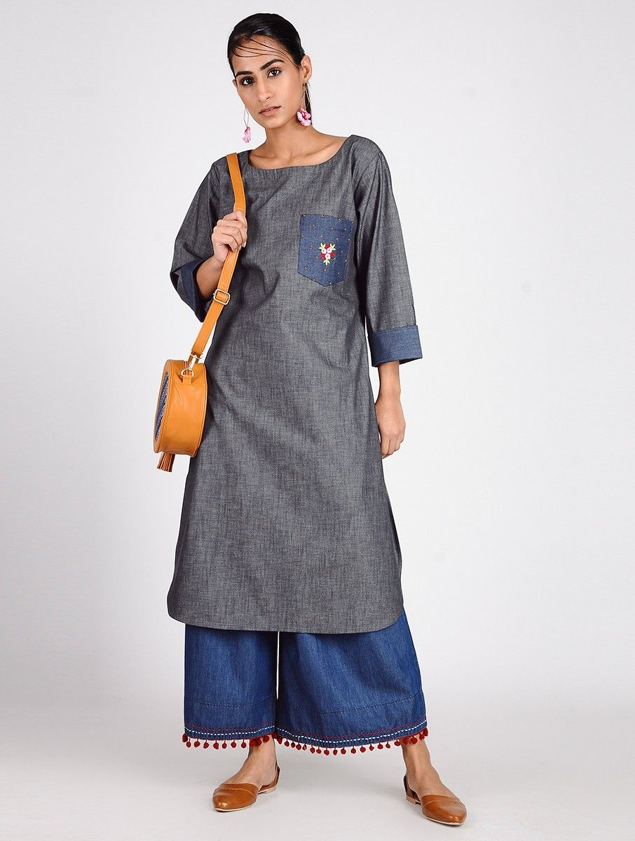 8d91341ef06 Buy Blue Hand-embroidered Cotton Denim Kurta Online at Jaypore.com