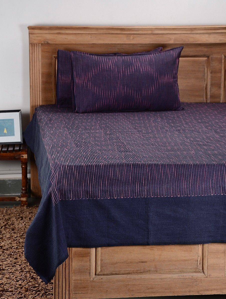 Buy Purple Cotton Double Bed Cover With Pillow Cover Set Of 3 Online At Jaypore Com