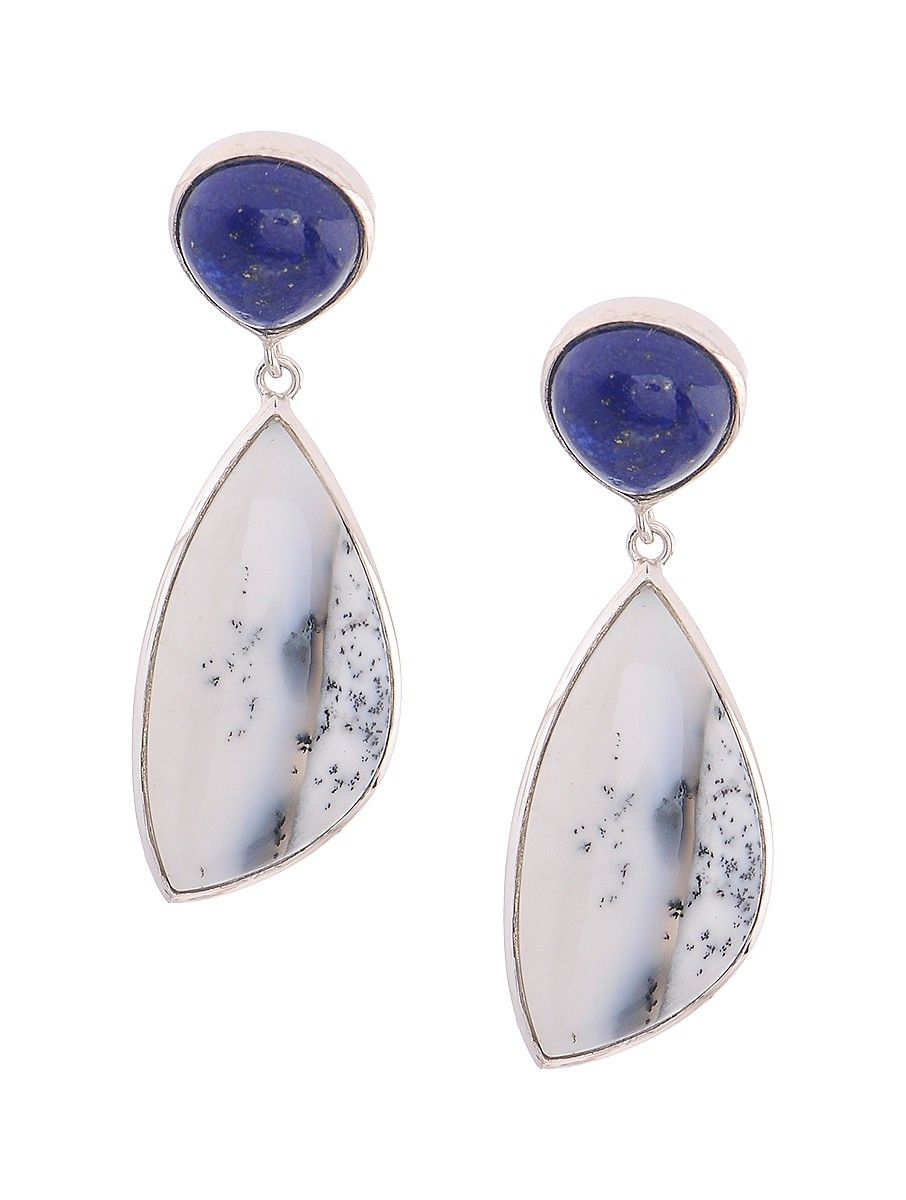 a1b8afe40dce2 Buy Dendritic Agate and Lapis Lazuli Silver Earrings Online at Jaypore.com