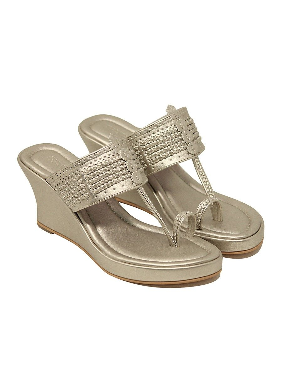 0a6972542c6b Buy Champagne Handcrafted Wedges Online at Jaypore.com