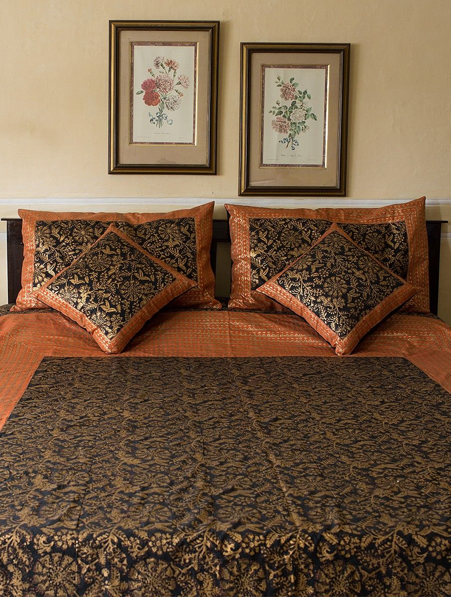 Buy Black-Rust Block-printed Cotton Double Bed Cover with Pillow Covers (Set  of 3) Online at Jaypore.com