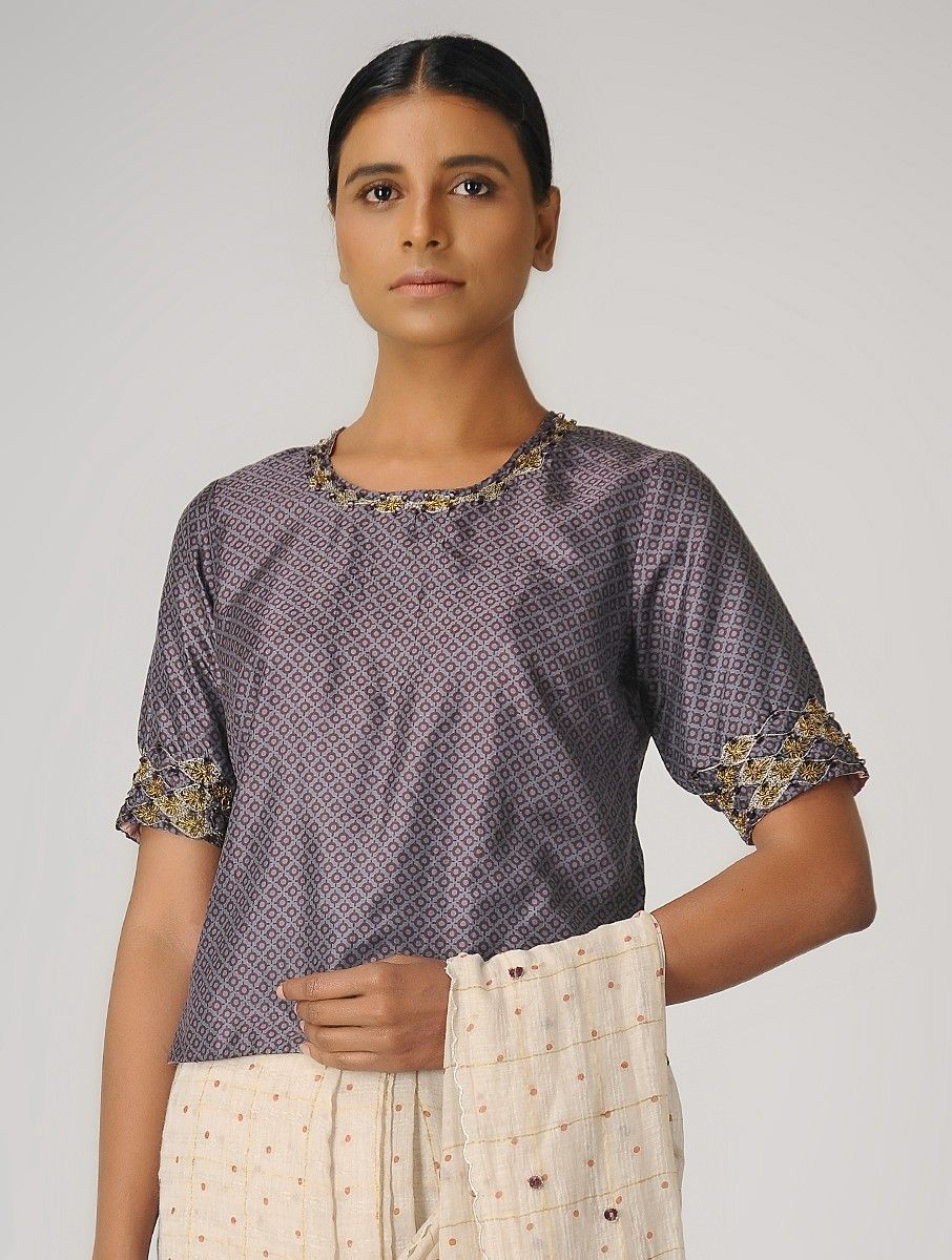 Buy Purple Maroon Printed Silk Blouse With Beads S Online At Jayporecom