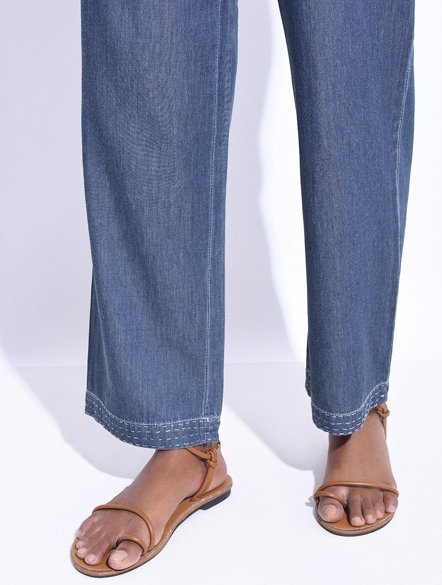 Buy Blue Elasticated Tie-up Waist Pants with Hand-embroidery Online at  Jaypore com