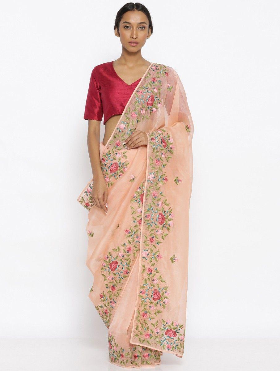 611019a81a Buy Peach-Green Embroidered Organza Saree Online at Jaypore.com