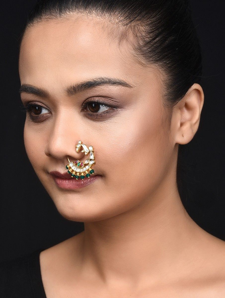 Buy Pink Green Gold Plated Kundan Inspired Silver Nose Ring