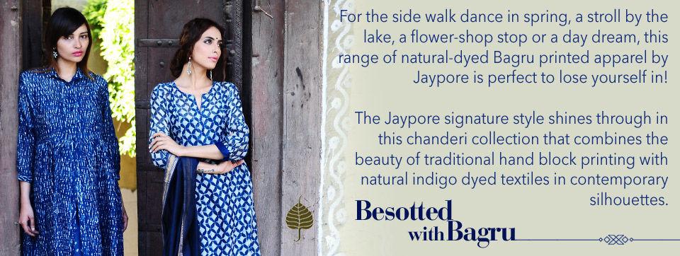 218736433c Buy Besotted with Bagru by Jaypore Bagru-Printed Natural-Dyed Chanderi  Kurtas