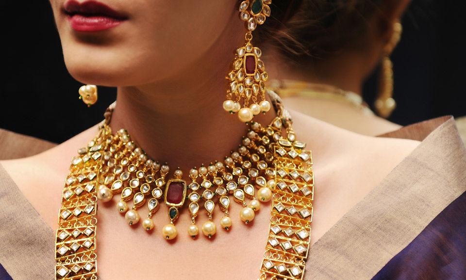 Buy Gold Flourish by Anjali Jain Gold tone, kundan-inspired ...
