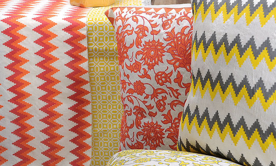 7992b61258 A Spot of Color Aakriti Khari-printed silk cushion covers and table runners  starting from $19