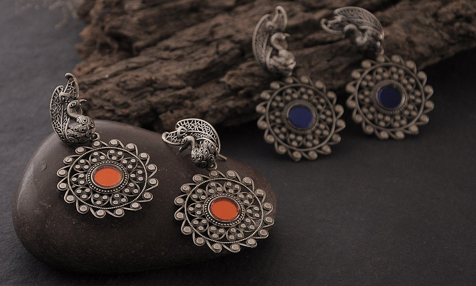 pinterest oxidised floral best earrings buy jhumkis jewelry online images silver on jewellery indian