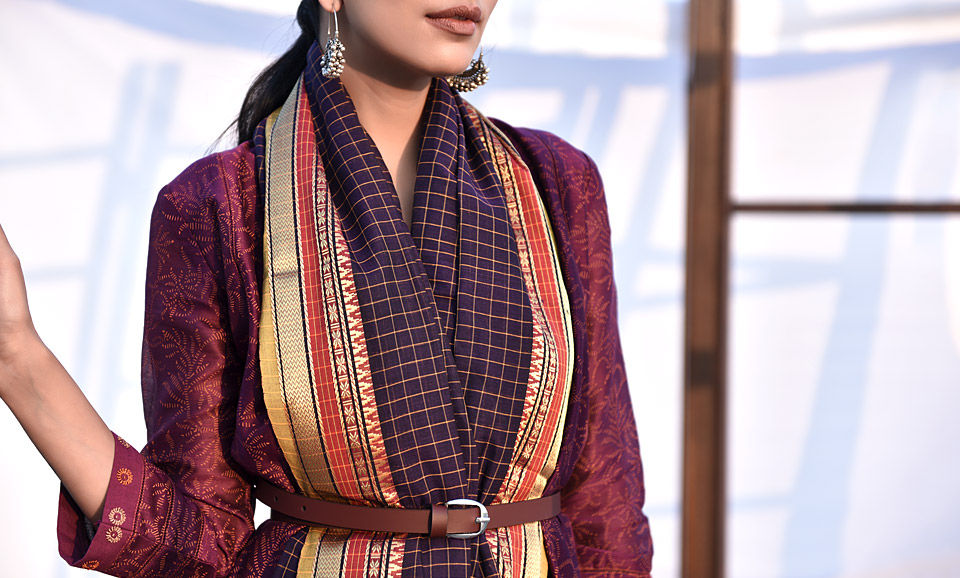 Buy The Saree Story Traditional Checkered Nine Yard Cotton