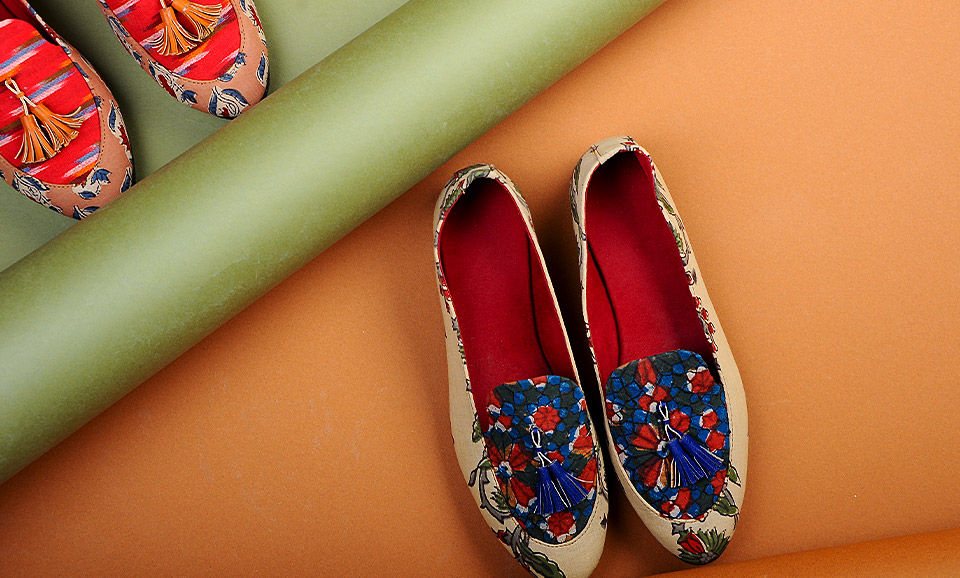 88a359133b5c Buy Walk A Block Rhea s Block-printed cotton loafers and shoes for a  stylish statement Online at Jaypore.com