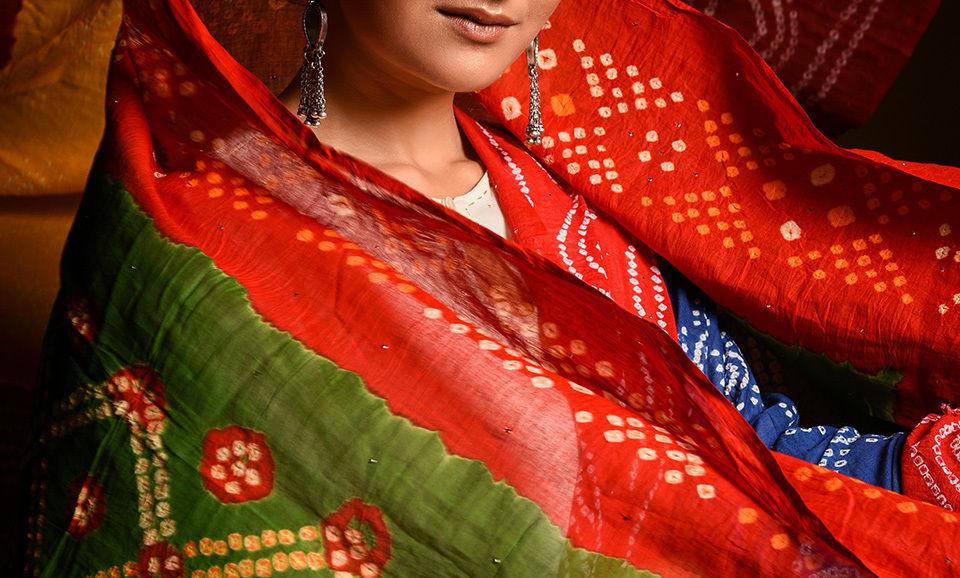 Buy a vibrant colorscape chakor striking bandhani fabric and