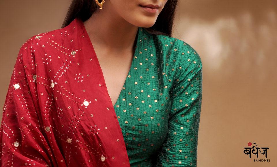 Buy a lyrical season bandhej silk blouses sarees with sequins
