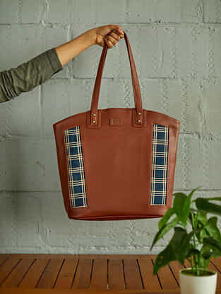 Blue Brown Handcrafted Faux Leather Tote Bag