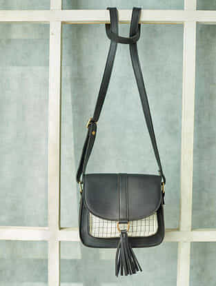 Black White Handcrafted Faux Leather Sling Bag