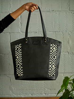 Black White Handcrafted Faux Leather Tote Bag