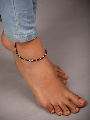 Black Tribal Silver Anklet with Evil Eye