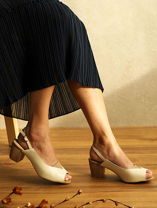 Ivory Nude Handcrafted Genuine Leather Block Heels