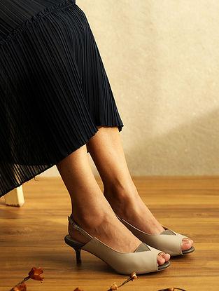 Grey Handcrafted Genuine Leather Kitten Heels