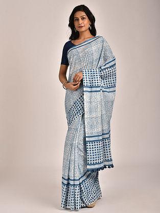 Indigo Hand Block Printed Cotton Mul Saree