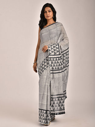 Gray Hand Block Printed Cotton Mul Saree