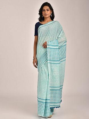 Turquoise Hand Block Printed Cotton Mul Saree