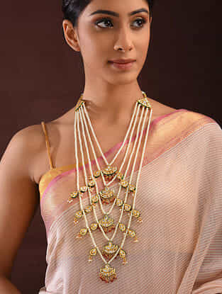 Red Green Gold Tone Kundan Beaded Necklace With Pearls