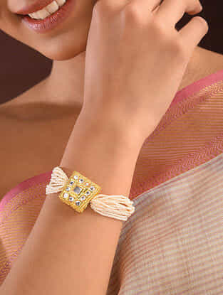 Gold Tone Pearl Beaded Kundan Bracelet
