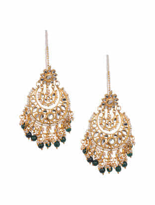 Green Gold Tone Kundan Earrings And Earchains With Pearls