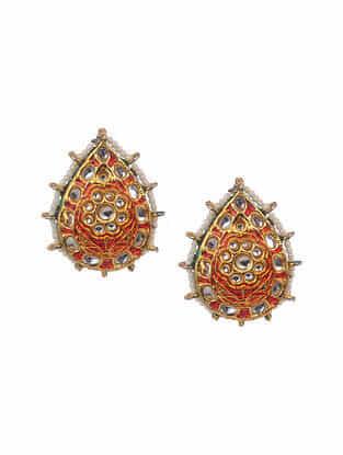 Red Gold Tone Enameled Earrings