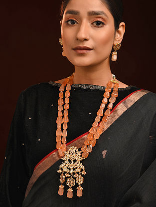 Peach Gold Tone Kundan Necklace With Earrings