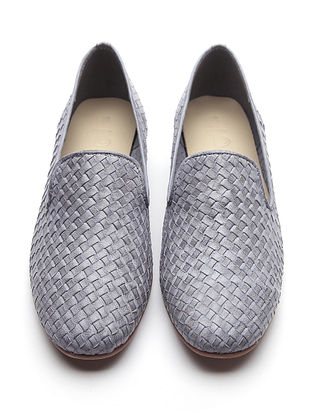 Grey Handwoven Genuine Leather Loafers