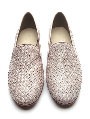 Beige Handwoven Genuine Leather Loafers