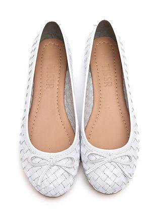 White Handwoven Genuine leather Ballerinas