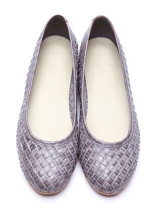 Grey Handwoven Genuine Leather Ballerinas
