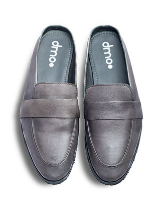 Grey Handcrafted Genuine Leather Shoes for Men
