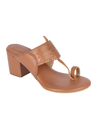 Tan Handcrafted Genuine Leather Kolhapuri Block Heels