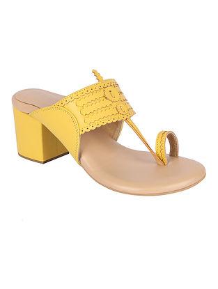 Yellow Handcrafted Genuine Leather Kolhapuri Block Heels