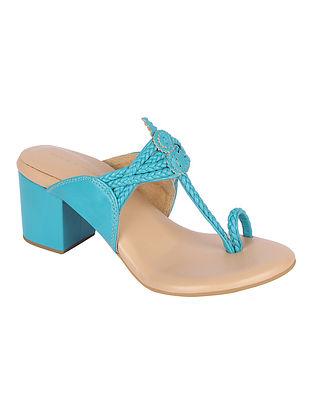 Blue Handcrafted Genuine Leather Kolhapuri Block Heels