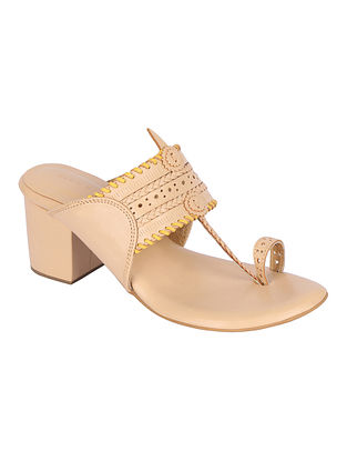 Beige Yellow Handcrafted Genuine Leather Kolhapuri Block Heels