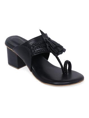Black Handcrafted Genuine Leather Kolhapuri Block Heels