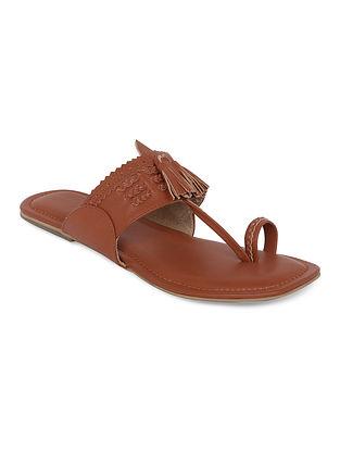 Tan Handcrafted Genuine Leather Kolhapuri Flats
