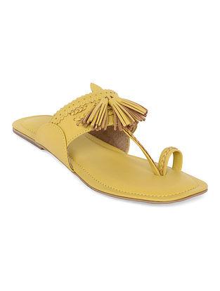 Yellow Handcrafted Genuine Leather Kolhapuri Flats